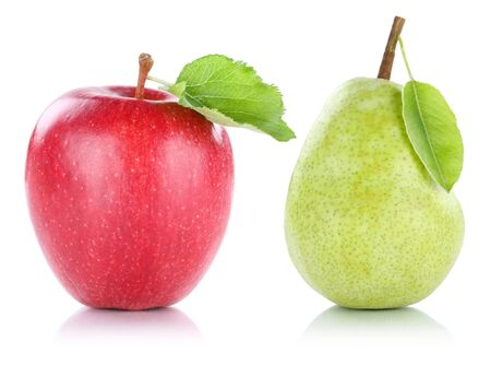 Apple and pear fruit fruits isolated on a white background Stock Photo