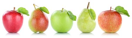 Apfel, Birne Obst Äpfel Birnen Früchte in einer Reihe auf einem weißen Hintergrund Standard-Bild
