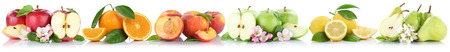 apples and oranges: Fruits apple orange lemon peach apples oranges fruit in a row isolated on a white background