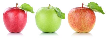 Apple-fruitappelen vruchten op een rij rode groen geïsoleerd op een witte achtergrond Stockfoto - 60462840