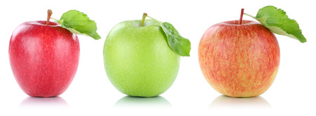 Apple fruit apples fruits in a row red green isolated on a white background Foto de archivo
