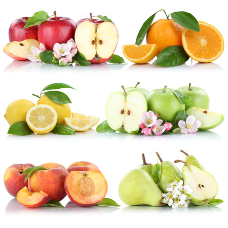 apples and oranges: Fruits apple orange lemon peach apples oranges fruit collection isolated on a white background
