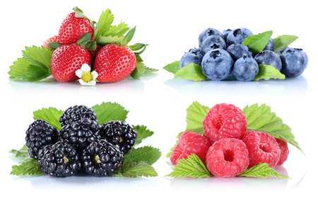 blueberries: Berries strawberries collection blueberries berry fruits isolated on a white background