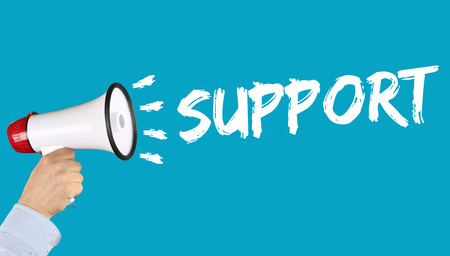 proclaim: Support help problem customer service business concept hand with megaphone