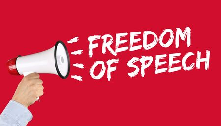 dictatorship: Freedom of speech press opinion expression censorship censored hand with megaphone