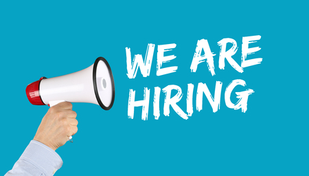 proclaim: We are hiring jobs, job working recruitment employment business concept employees career hand with megaphone
