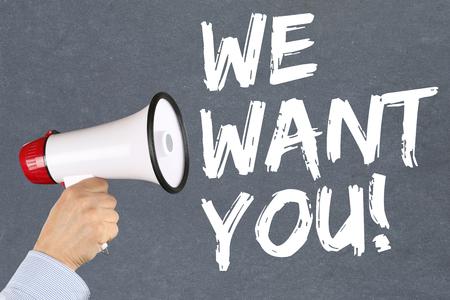 empleados trabajando: Queremos que puestos de trabajo, los empleados que trabajan de contratación de empleo concepto de negocio mano carrera con el megáfono