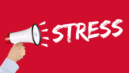 destress: Stress stressed business concept burnout at work relaxed hand with megaphone