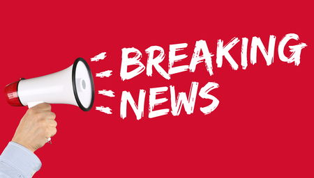 to announce: Breaking news media announcement announce information hand with megaphone Stock Photo