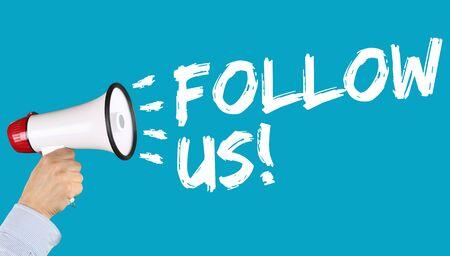 follower: Follow us follower followers fans likes social networking media internet hand with megaphone