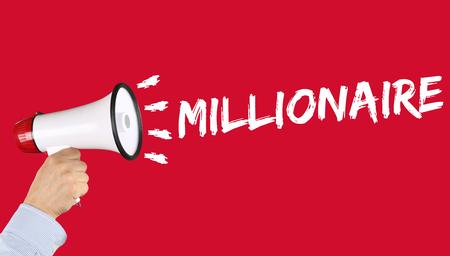 hombre millonario: Millonario éxito rico concepto de la abundancia finanzas exitosas de liderazgo empresarial mano con el megáfono