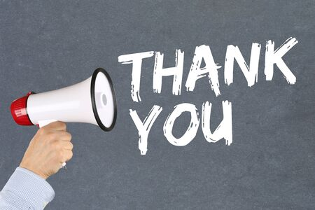 proclaim: Thank you message announcement hand with megaphone