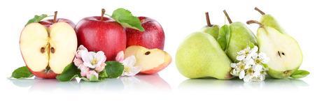 pera: Manzana y pera peras manzanas rojas fruta frutas verdes rebanada aislados en blanco