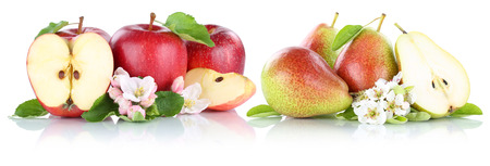 pera: Apple and pear apples pears fruit red fruits slice isolated on white