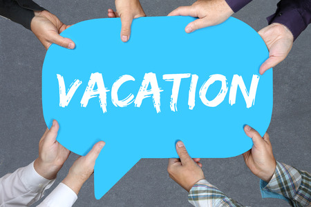 break free: Group of people holding with hands the word Vacation holiday holidays relax relaxed break free time business concept relax relaxed Stock Photo