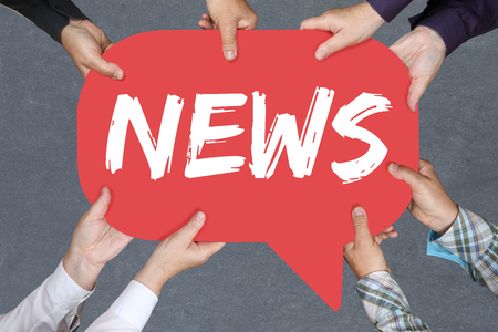 Group of people holding with hands the word news media announcement announce information Stock Photo