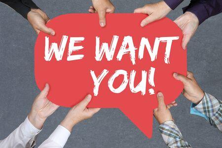 empleados trabajando: Grupo de personas que llevan a cabo las manos con la palabra que queremos que los trabajos, trabajo de los empleados que trabajan concepto de negocio de reclutamiento de carrera