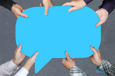 empty of people: Group of people holding with hands empty blank blue sign business concept copyspace copy space information message Stock Photo