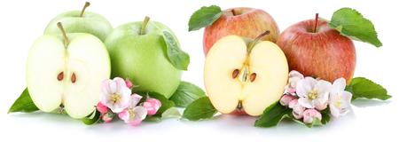 fruit background: Apple fruit apples fresh fruits sliced isolated on a white background
