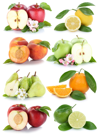 apples and oranges: Fruits apple orange nectarine apples oranges fresh fruit collection isolated on a white background Stock Photo