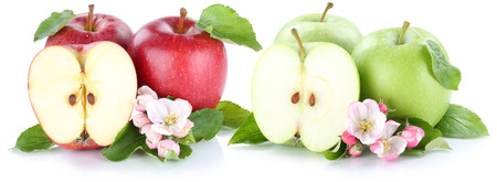manzana verde: Apple fruit apples fresh fruits red green sliced isolated on a white background Foto de archivo