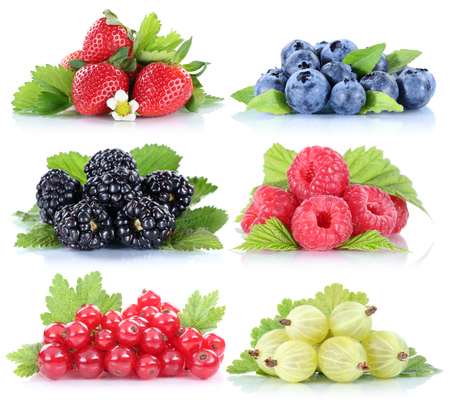 red currant: Berries strawberries collection blueberries red currant berry fruits isolated on a white background