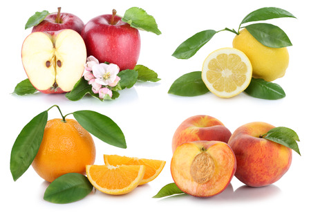 apples and oranges: Fruits apple orange peach apples oranges fresh fruit collection isolated on a white background