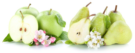 manzana verde: Apple and pear apples pears fresh green fruits slice isolated on white