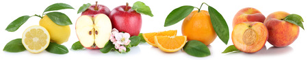 Fruits apple orange peach apples oranges peaches fresh fruit in a row isolated on a white background