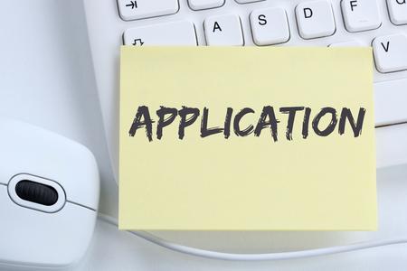 empleados trabajando: Application apply jobs, job working recruitment employees business concept office computer keyboard Foto de archivo