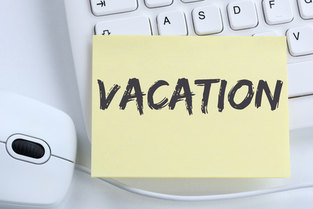 break free: Vacation holiday holidays relax relaxed break free time office computer keyboard Stock Photo
