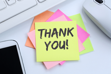 notepaper: Thank you on notepaper office business concept desk computer keyboard