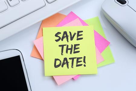 Save the date invitation message information desk computer keyboard Archivio Fotografico