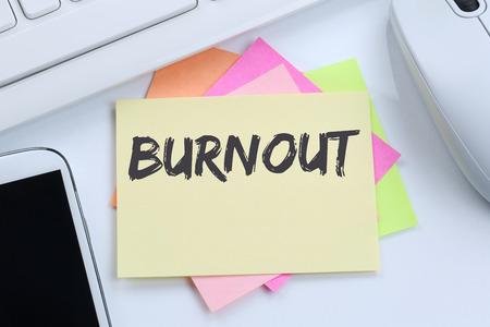 destress: Burnout ill illness stress stressed at work business concept desk computer keyboard