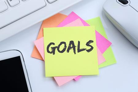 aspirational: Goal goals to success aspirations and growth business concept desk computer keyboard