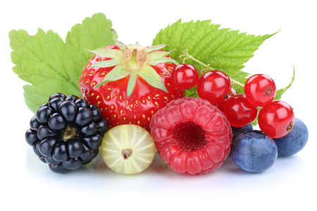 Berries strawberries blueberries red currant berry fresh fruits leaves isolated on a white background