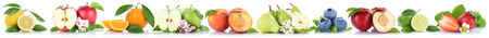 Fruits apple orange apples oranges in a row isolated on a white background Stock Photo