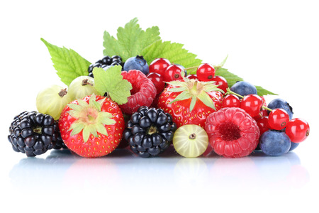 Berries strawberries blueberries berry fresh fruits leaves isolated on a white background Banco de Imagens