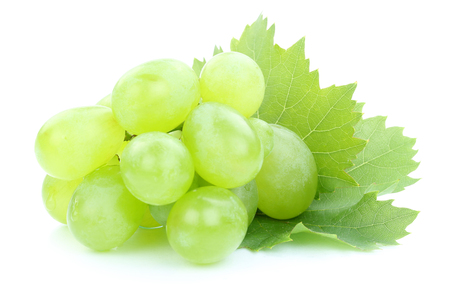 white grape: Grapes green fruits fruit leaves isolated on a white background