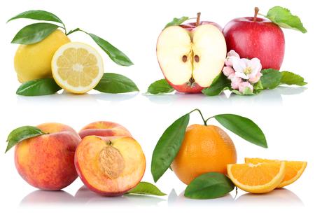 naranja: Las frutas manzana melocotón colección manzanas naranjas aislado en un fondo blanco