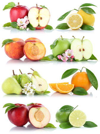 apples and oranges: Fruits apple orange nectarine apples oranges collection isolated on a white background