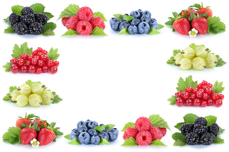 red currant: Berries strawberries blueberries red currant berry fruits copyspace copy space isolated on a white background