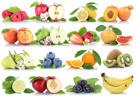 pera: Las frutas manzana naranja bayas colección de manzanas naranjas plátano de la fresa aislado en un fondo blanco