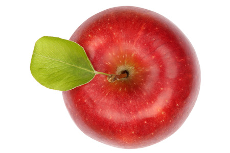Apple fruit red top view isolated on a white background