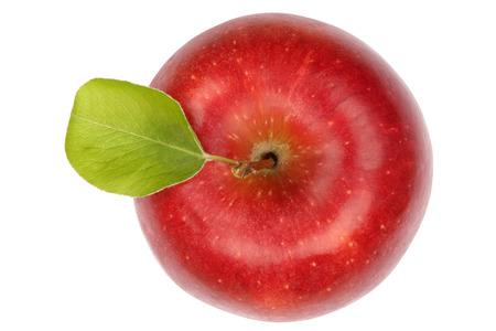 manzana roja: Fruta de Apple vista superior de color rojo aislado en un fondo blanco