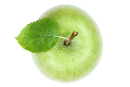manzanas: Manzana encima de la fruta vista verde aislado en un fondo blanco