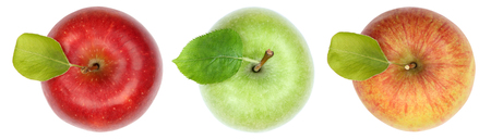 Apples apple fruit fruits top view isolated on a white background Standard-Bild
