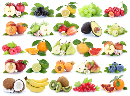 white grape: Fruits fruit collection orange apple apples banana strawberry pear grapes cherry isolated on a white background