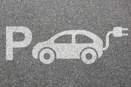 Parkplatz unterzeichnen Elektro Parkplatz Ladestation umweltfreundliche Mobilität Stadt Transport