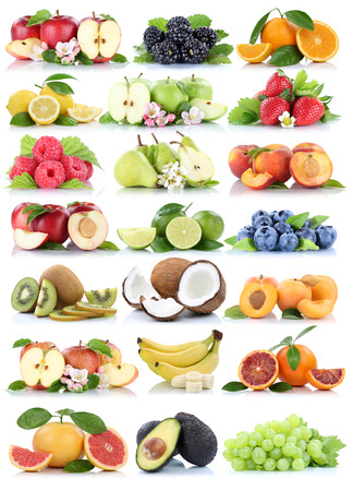 apples and oranges: Fruits apple orange berries apples oranges banana grapes organic fruit strawberry pear collection isolated on white